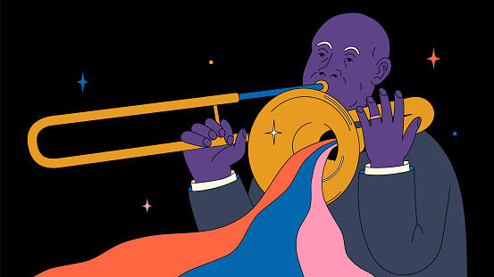 Vector outline illustration. Black man is playing on a trumpet. Jazz musician