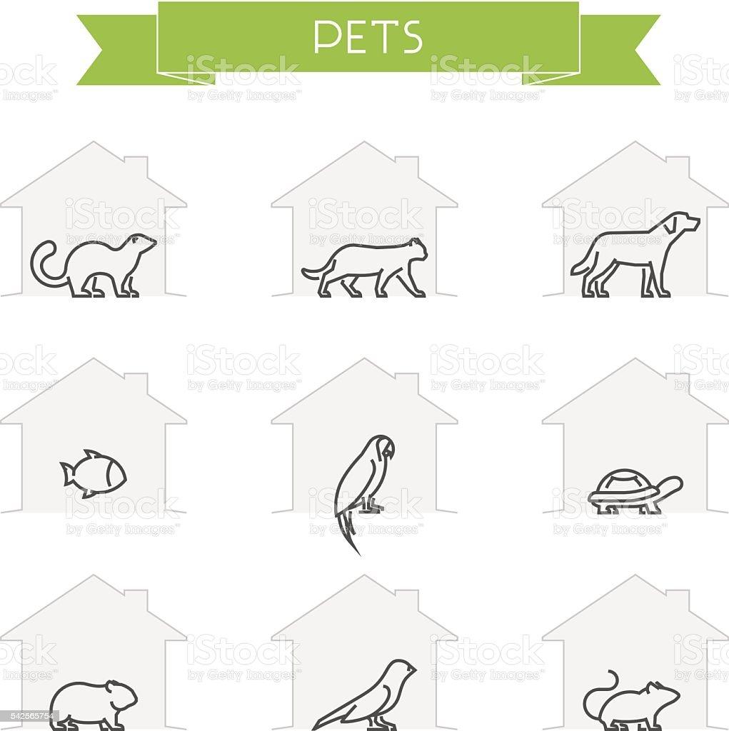 Marco de Vector siluetas de animales domésticos - ilustración de arte vectorial