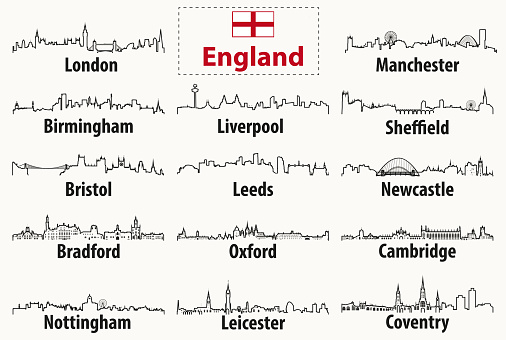 vector outline silhouettes of England cities skylines