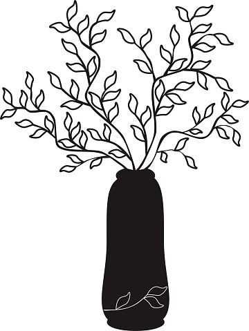 Vector outline simple illustration black tree branches in a vase on white backgronnd