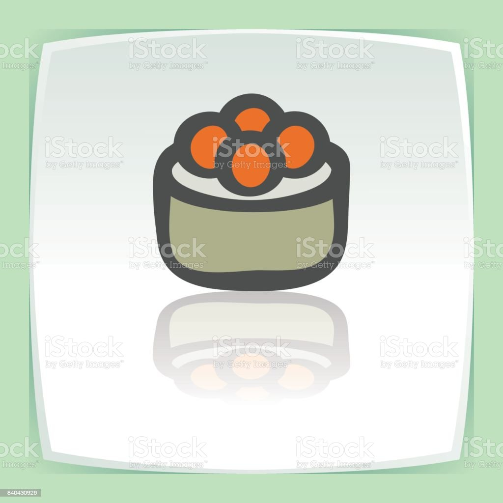 Vector outline sushi rice roll with caviar japan food icon. Modern icon. vector art illustration