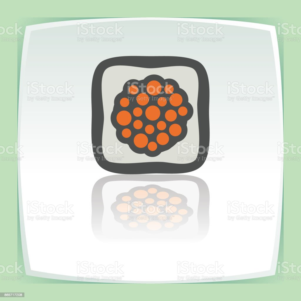 Vector outline sushi rice roll with caviar japan food icon. Modern logo. vector art illustration