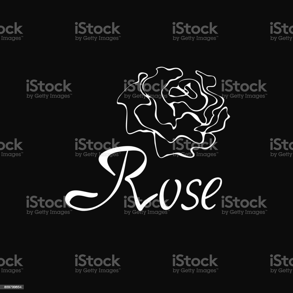 Vector outline symbol with rose