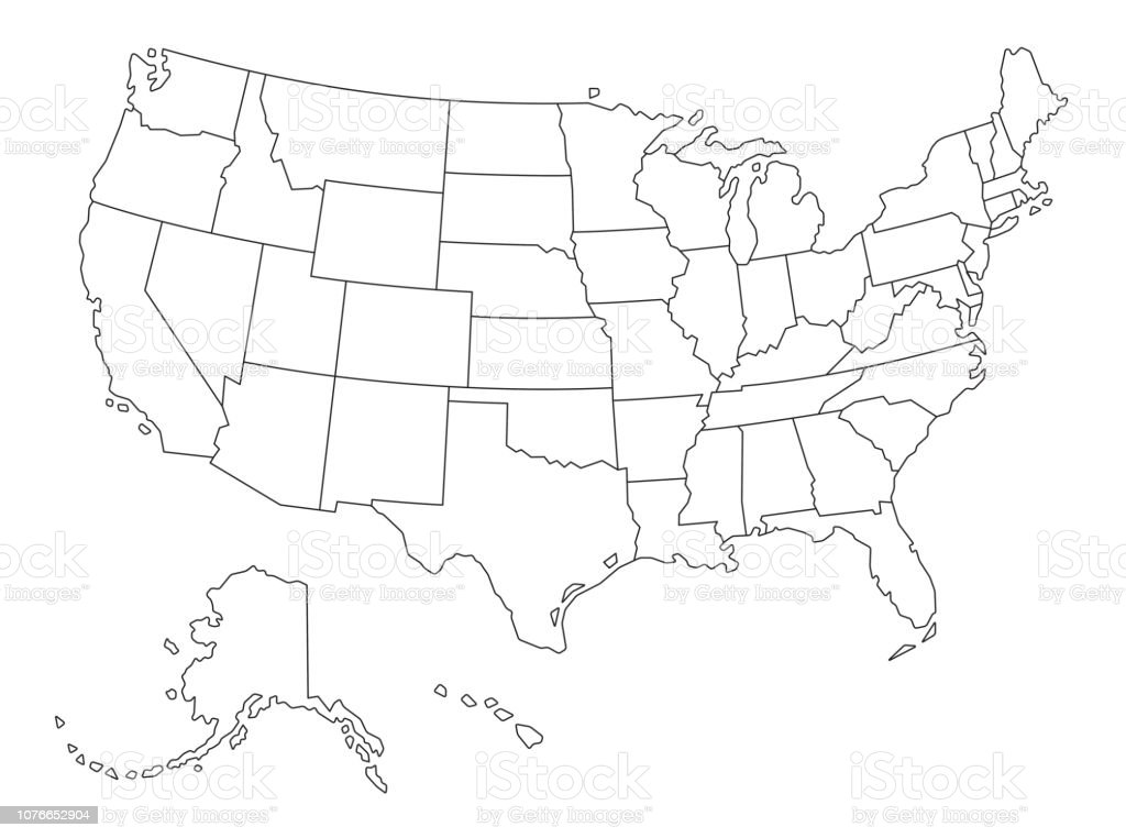 Vector Outlined map of The USA royalty-free vector outlined map of the usa stock illustration - download image now