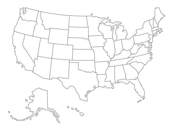 미국의 outlined 지도 벡터 - 미국 stock illustrations