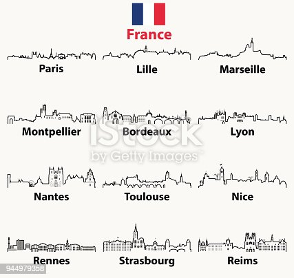 istock vector outlines icons of France cities skylines 944979358