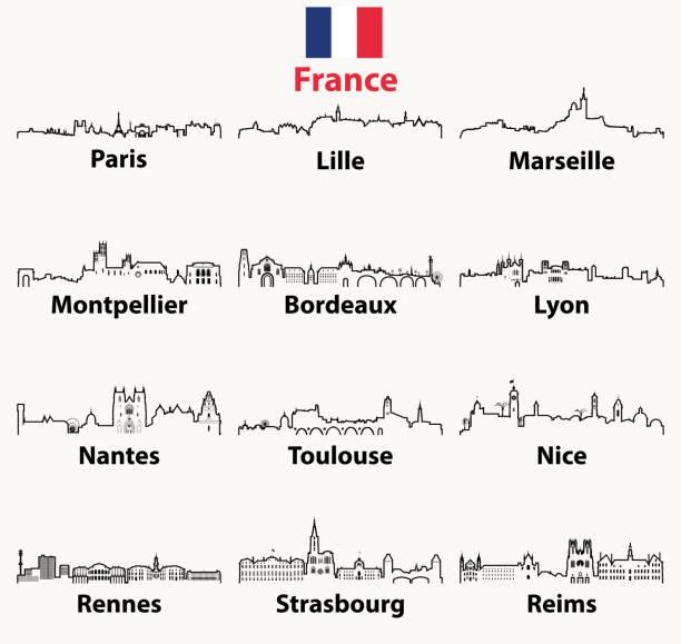bildbanksillustrationer, clip art samt tecknat material och ikoner med vector beskriver ikoner av frankrike städer horisonter - paris