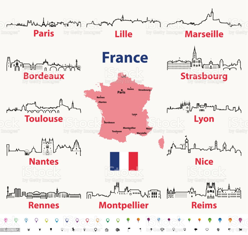 A Map Of France With Cities.Vector Outlines Icons Of France Cities Skylines With Map And Flag Of