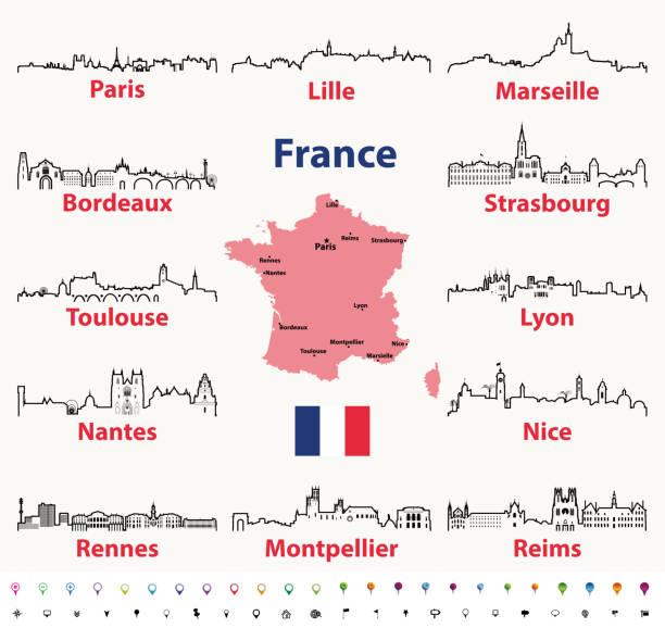 stockillustraties, clipart, cartoons en iconen met vector schetst pictogrammen van frankrijk skylines van de steden met de kaart en de vlag van frankrijk - marseille