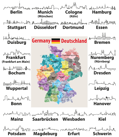 vector outlines icons of Germany cities skylines with map and flag of Germany