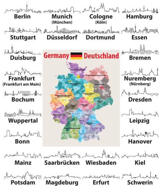 vektor beschreibt symbole der deutschland städte skylines mit karte und flagge deutschlands - hannover stock-grafiken, -clipart, -cartoons und -symbole