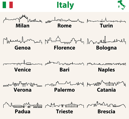 vector outlines icons of Italy cities skylines with map and flag of Italy