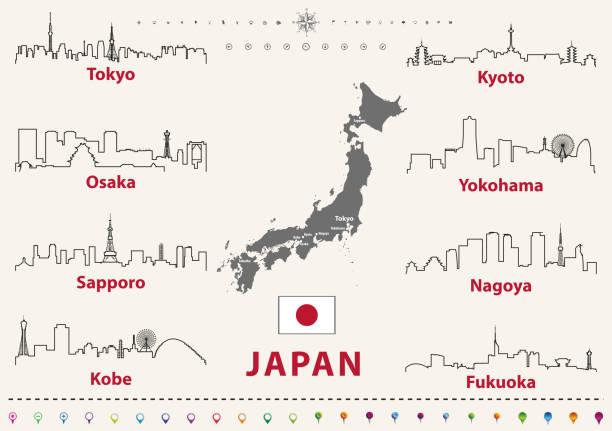 vektor beschreibt symbole der japanischen städte skylines mit karte und flagge von japan - kobe stock-grafiken, -clipart, -cartoons und -symbole