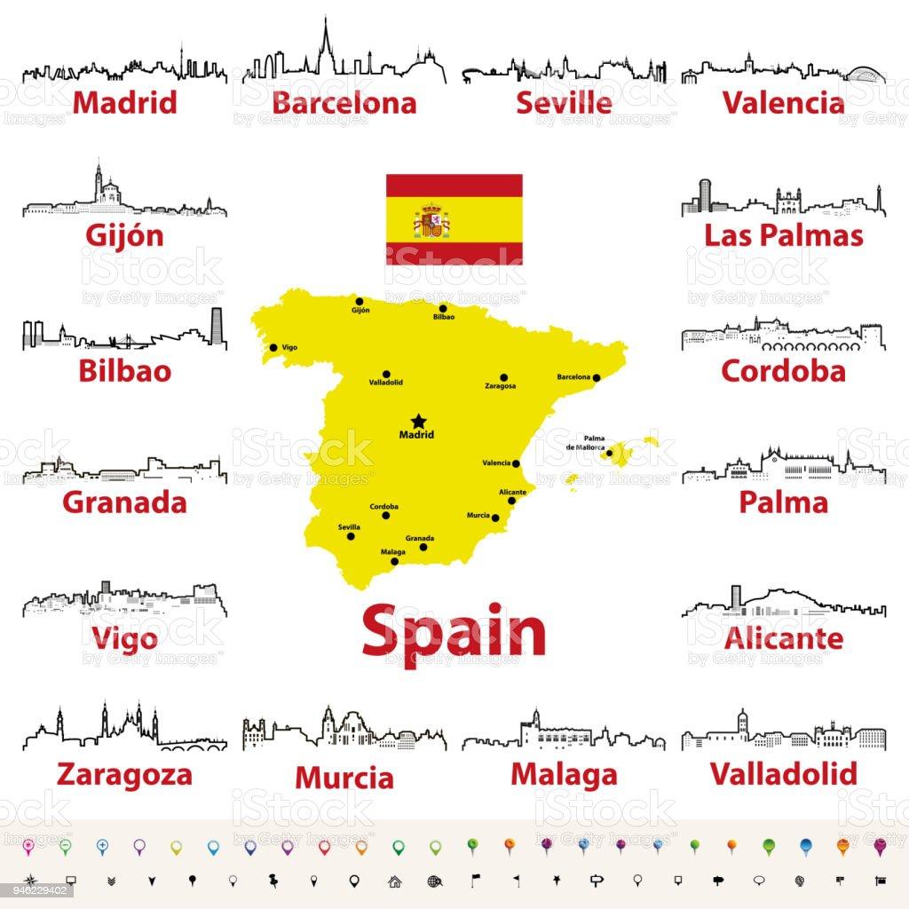 Karte Costa Brava Spanien.Vektor Beschreibt Symbole Der Spanischen Stadte Skylines Mit
