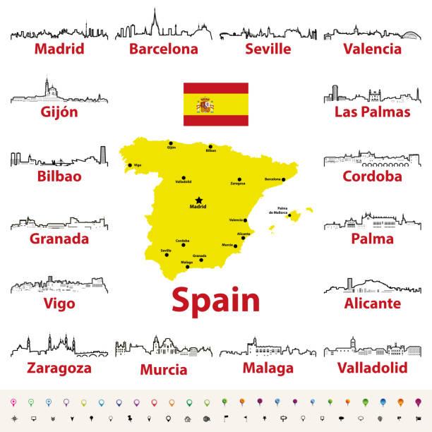 vektor beschreibt symbole der spanischen städte skylines mit karte und flagge von spanien - alicante stock-grafiken, -clipart, -cartoons und -symbole