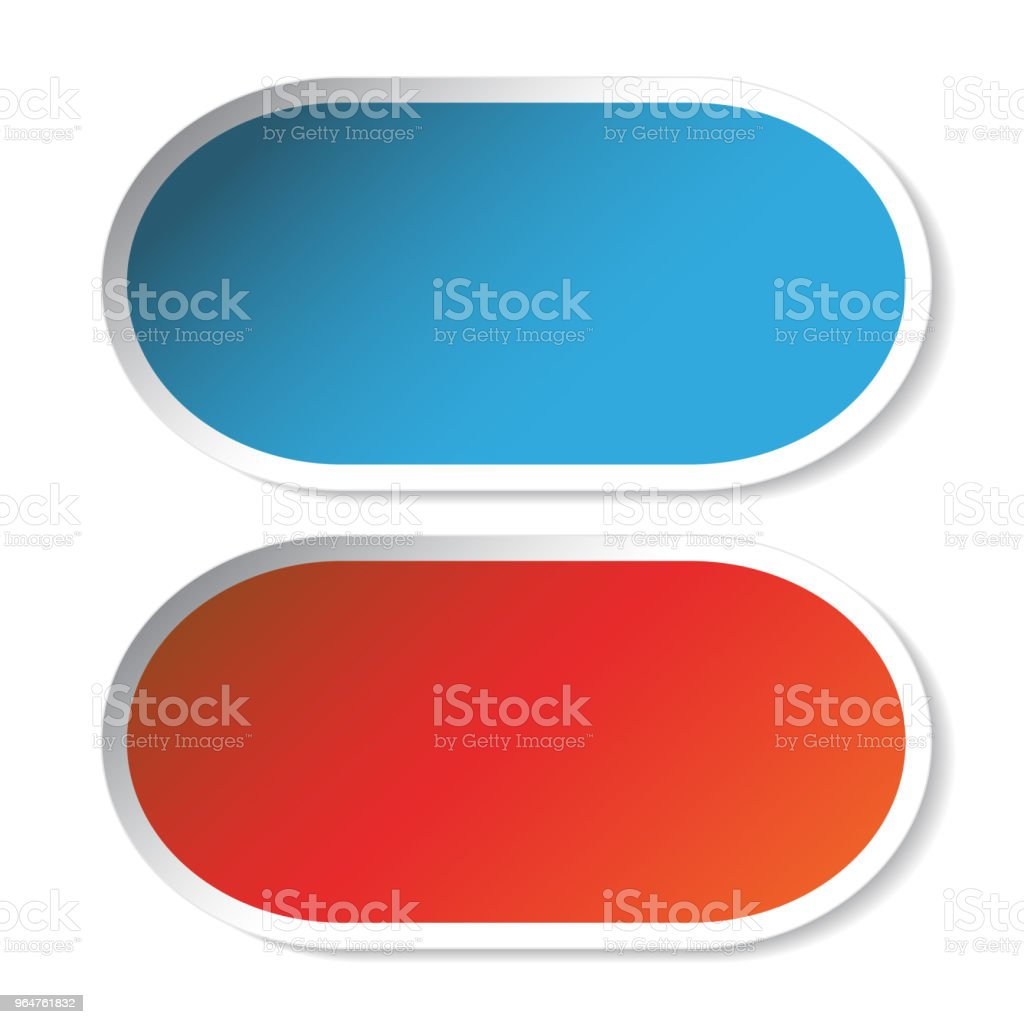 Vector oval stickers, blue and red royalty-free vector oval stickers blue and red stock illustration - download image now