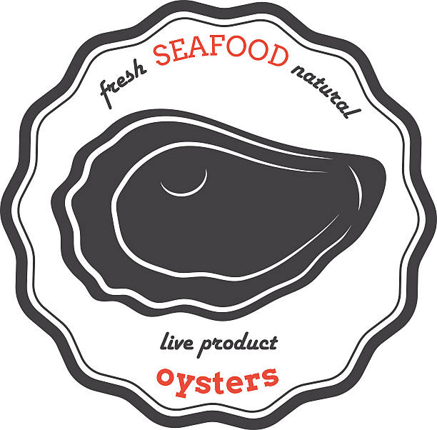 Vector oyster silhouette. Oyster label. vector art illustration