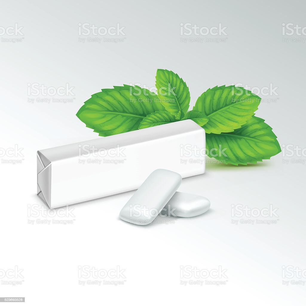Vector Pack of Chewing Gum with Fresh Mint Leaves vector art illustration
