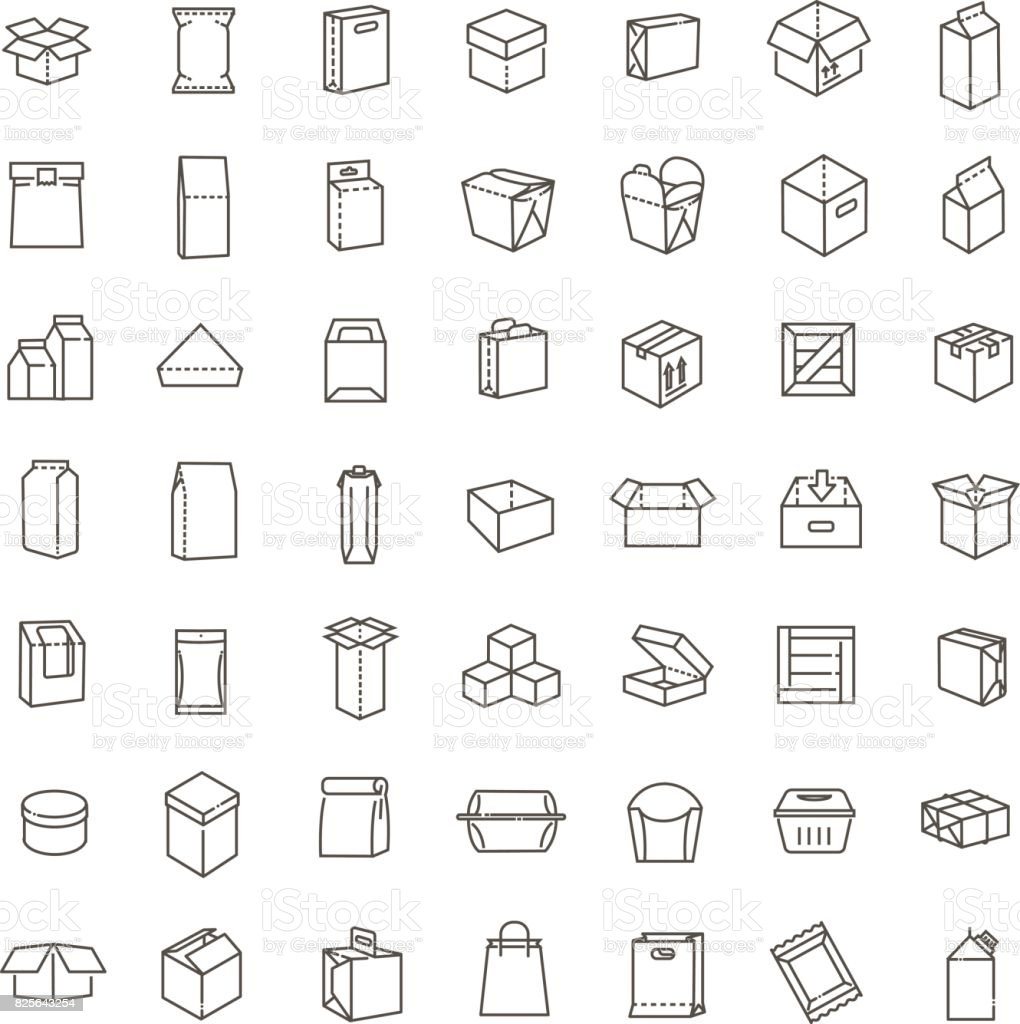 Vector package types icon set in thin line style vector art illustration
