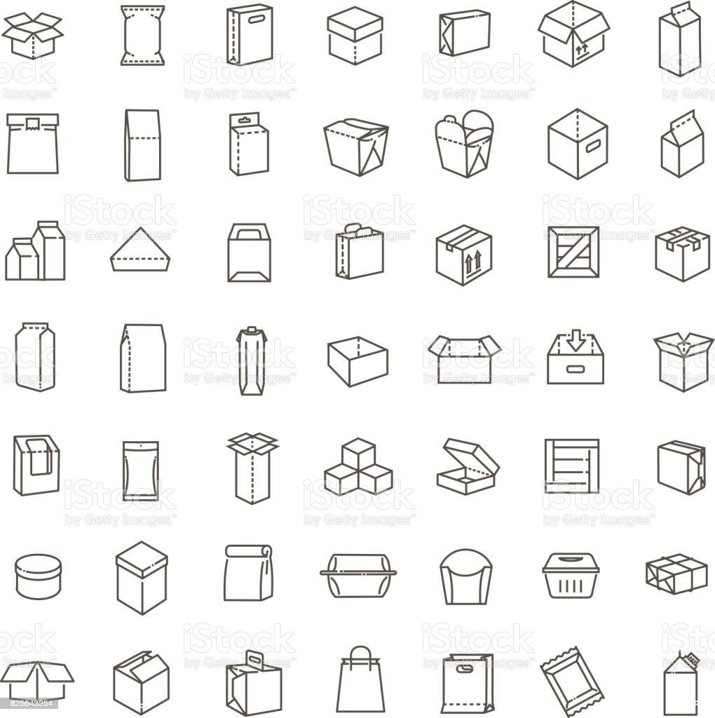 Icône de types de paquet vecteur défini dans le style de ligne fine - Illustration vectorielle