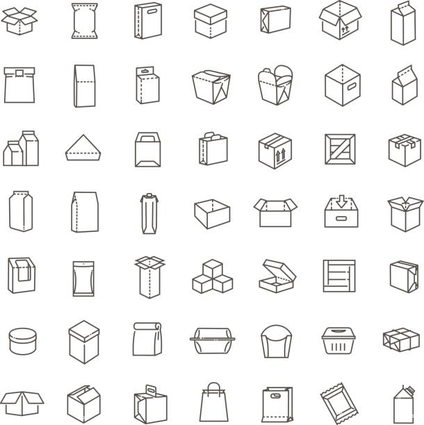 ilustrações de stock, clip art, desenhos animados e ícones de vector package types icon set in thin line style - packaging