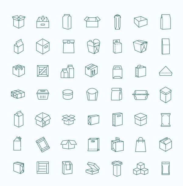 vector package types icon set in thin line style - karton zbiornik stock illustrations