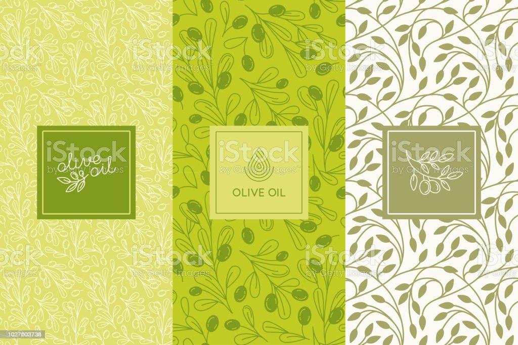 vektorverpackungdesignelemente und vorlagen f r oliven letiketten und flaschen musterdesigns. Black Bedroom Furniture Sets. Home Design Ideas