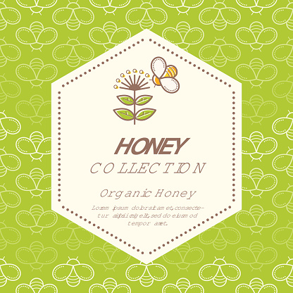 Vector packaging design - natural honey collection