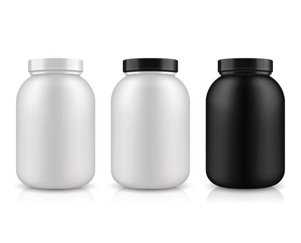 Vector packaging layout. Vector illustration with the image of packing. Package design. Mock up image. Sport Nutrition Containers. Plastic Jars and foil package and drink bottle. nutritional supplement stock illustrations
