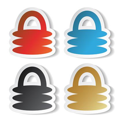 Vetores de Adesivos De Cadeado Do Vetor Símbolo De Segurança e mais imagens de Azul