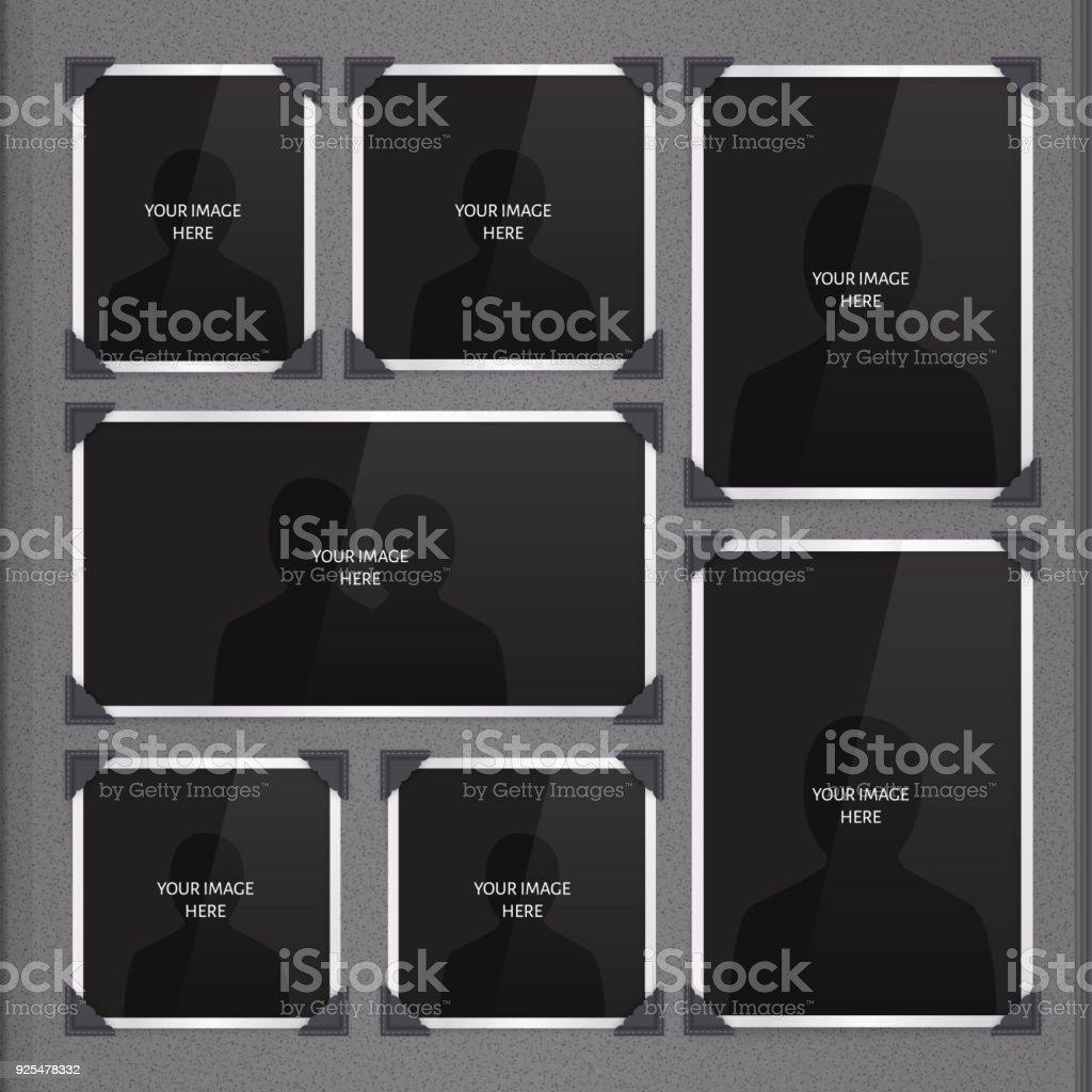 Vector sida fotoalbum, fotoramar och hörnet. vektorkonstillustration
