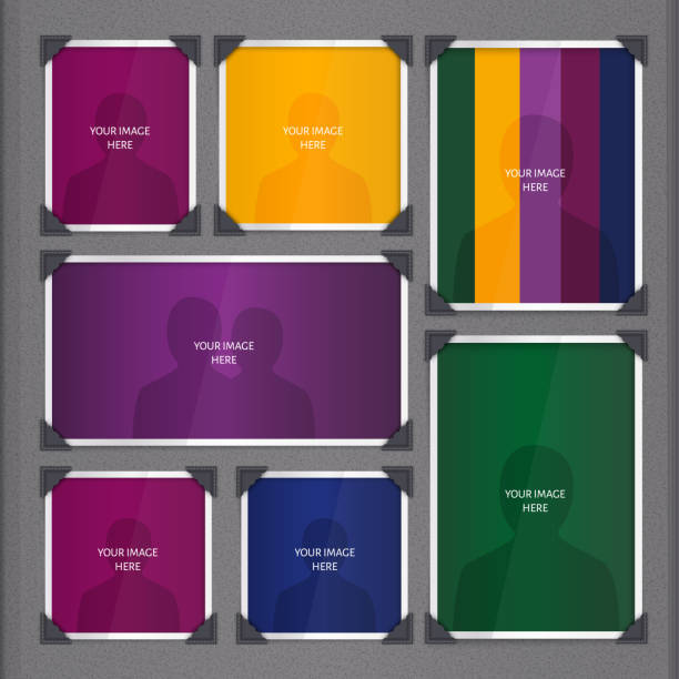 Vector page of photo album, with photo frames and corner. Page of photo album, with photo frames and corner. scrapbook stock illustrations