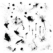 Vector paint and ink splatters, drips and splashes. Separated