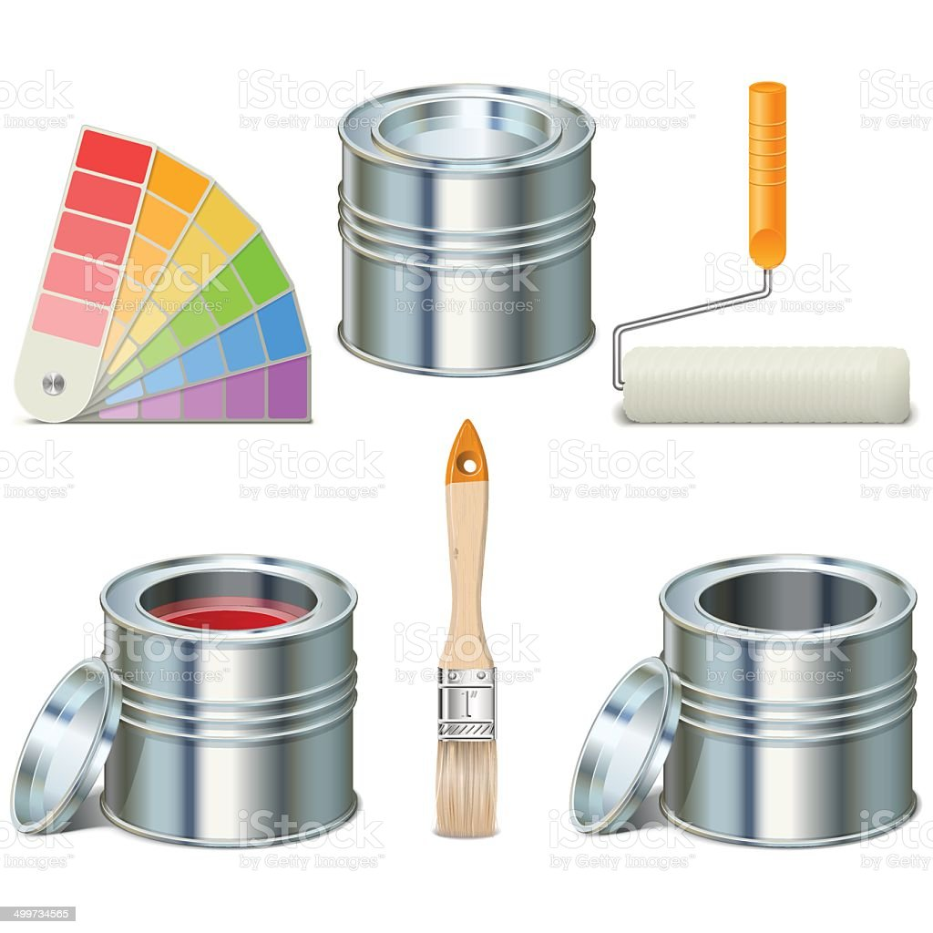 Vector Paint Can and Brush Icons vector art illustration