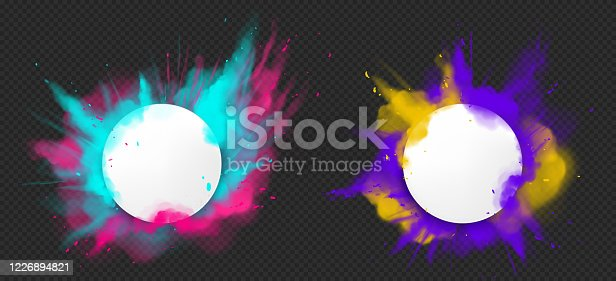 istock Vector paint powder explotion with round banner 1226894821