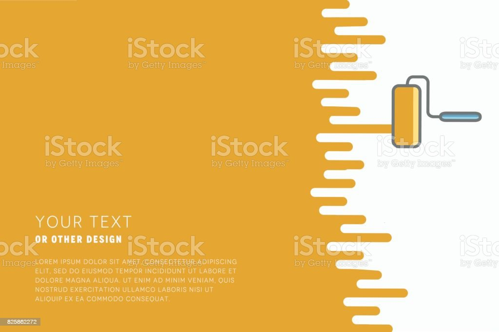 Vector paint roller with paint and space for text or other design. vector art illustration