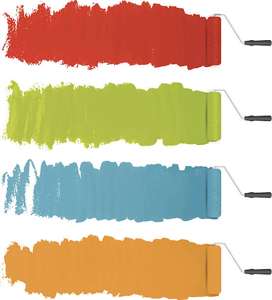 vector paint rollers with colorful paints background vector paint rollers with colorful paints background paint roller stock illustrations