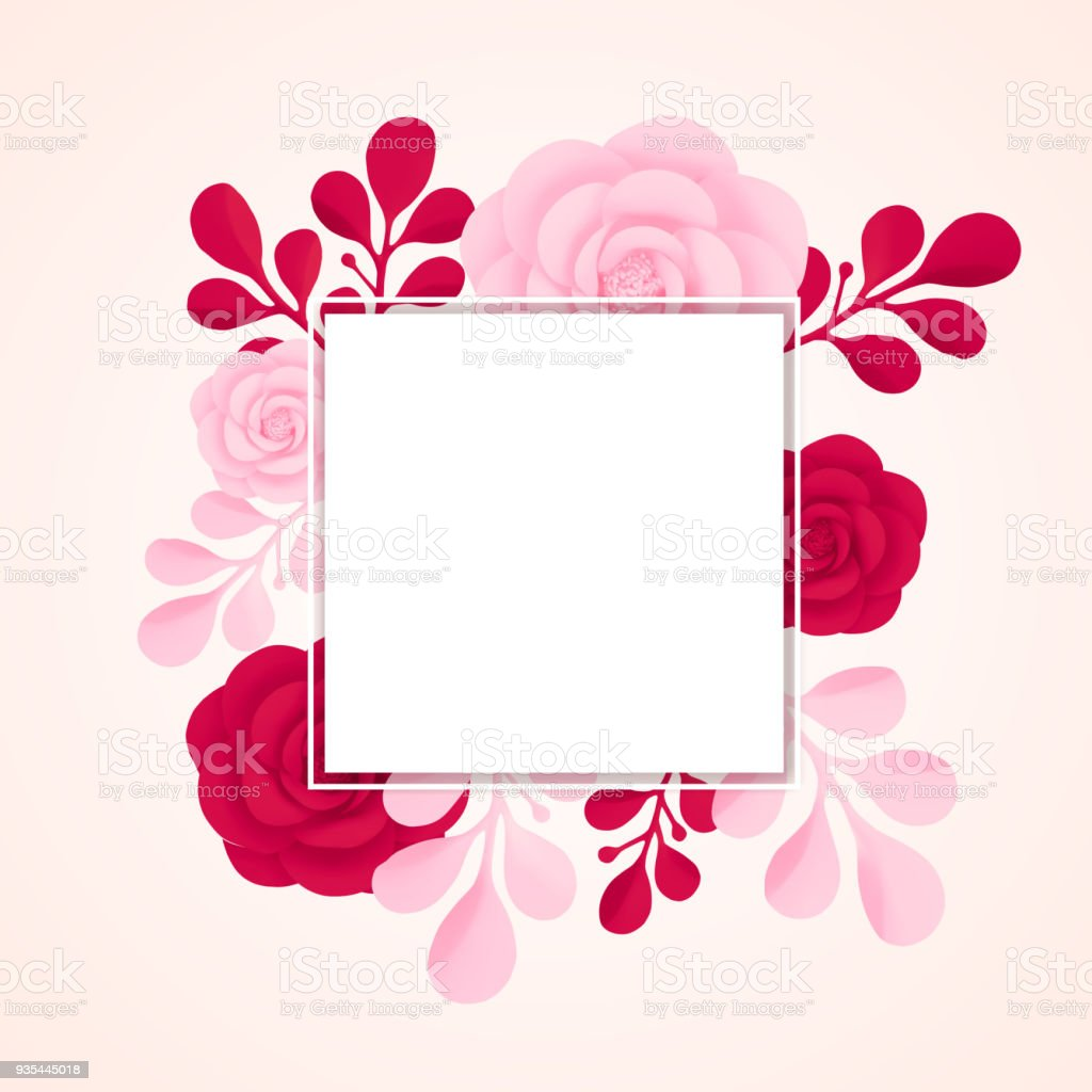 Vector Painted Flowers With Frame Isolated On White Background ...