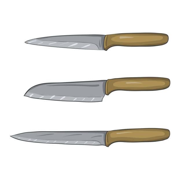 vektor, gemalt von küchenmesser - winkelküche stock-grafiken, -clipart, -cartoons und -symbole