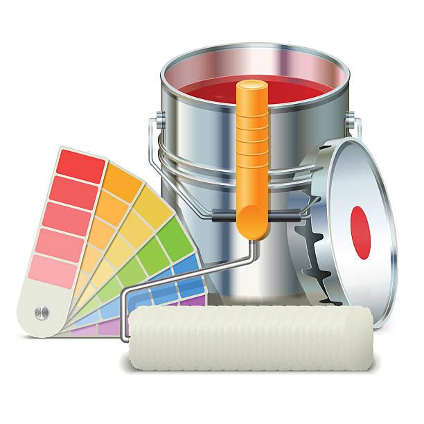 vektor-gemälde konzept - hausfarbpaletten stock-grafiken, -clipart, -cartoons und -symbole