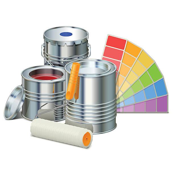 vektor-malerei-konzept mit farben - hausfarbpaletten stock-grafiken, -clipart, -cartoons und -symbole