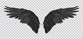 Vector pair of black realistic wings on transparent background.