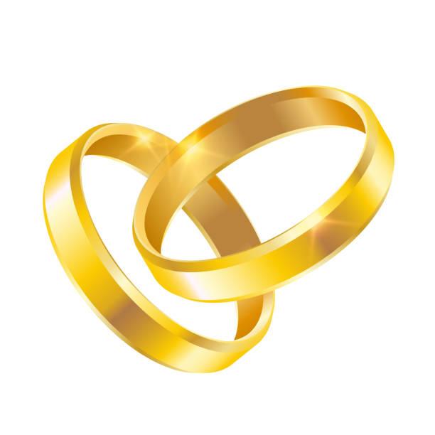 vektor paar gold glänzenden trauringe isoliert auf weißem hintergrund - clipart goldene hochzeit stock-grafiken, -clipart, -cartoons und -symbole