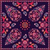 Vector Paisley floral square design