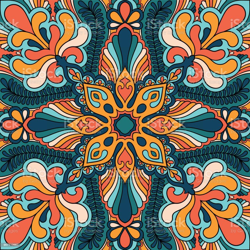 Ornement de foulard paisley vecteur impression. Foulard en soie, oreiller,  modélisme carré décor 5c4ffa0dc99