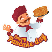 Vector Pancake Day funny illustration with cartoon mustachioed cooking chef in hat with griddle or plate to Happy Shrove Tuesday holiday isolated on white background Great for postcard and web banner