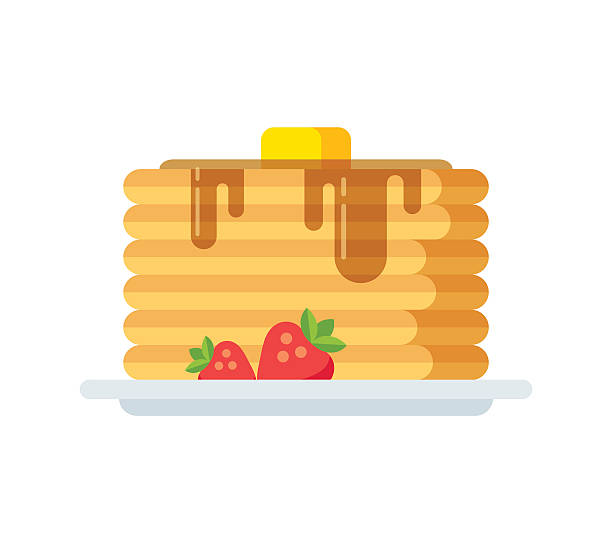 Vector pancakes icon Vector pancakes icon. Stack of pancakes with syrup, butter and strawberries. Isolated flat illustration. maple syrup stock illustrations