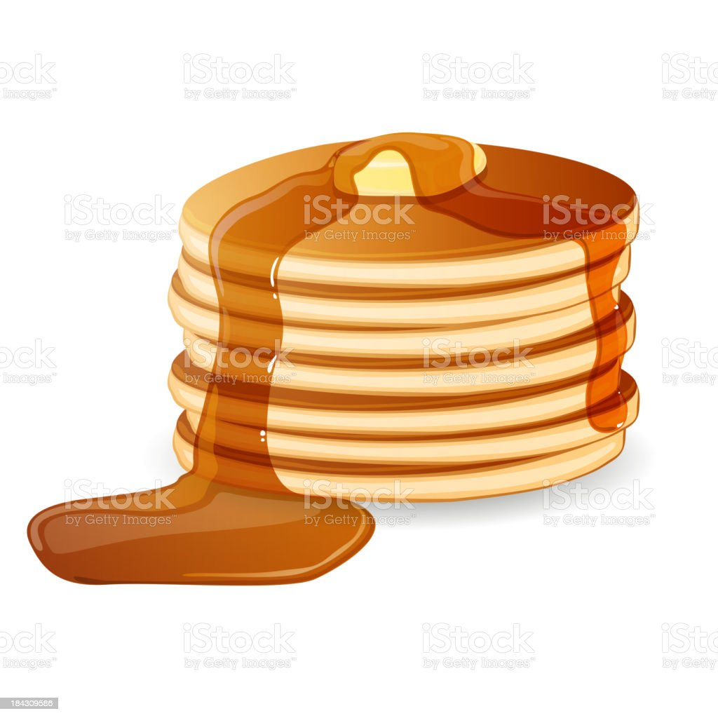 Vector Pancakes Vector Illustration of Pancakes with Maple Syrup and Butter Backgrounds stock vector