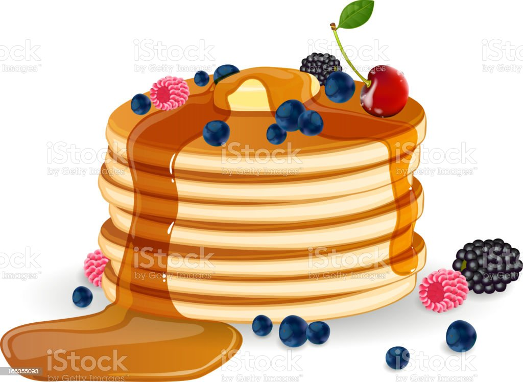 Vector pancakes with maple syrup, butter and wild berries royalty-free vector pancakes with maple syrup butter and wild berries stock vector art & more images of batter - food