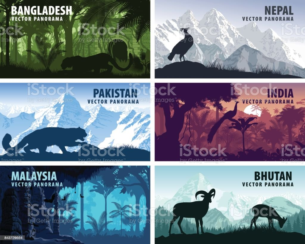 vector panorama of Bangladesh, Pakistan, Bhutan, Nepal, India and Malaysia with animals vector art illustration